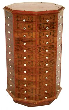 Antique Nuts Bolts Hardware Apothecary Cabinet 70 Drawer oak Wood ...