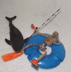 Dollhouse Miniature Halloween Skeleton Shark Attack!!!!-OOAK-Artist-Haunted