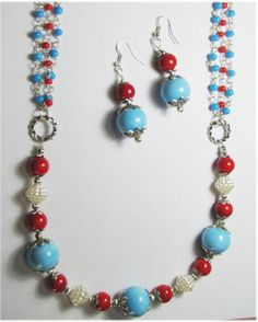 Rubeads Trendy Strand Necklace with Blue,Red and white beads For Women