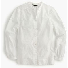 J.Crew Tall Eyelet Button-Up Shirt ($94) ❤ liked on Polyvore featuring tops, eyelet shirt, button down top, vintage button down shirts, cotton button down shirts and button down shirts