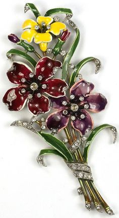 Trifari 'Alfred Philippe' Purple and Yellow Three Flowers and Leaves Enamelled Floral Spray Pin Clip
