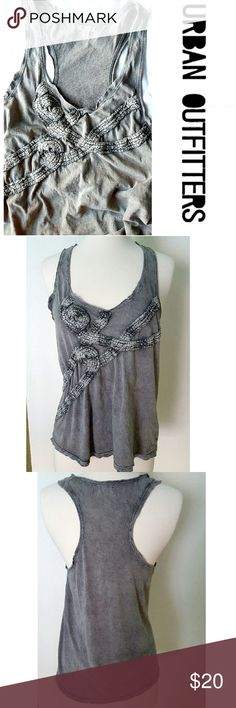 Ecotè tank top Beautiful antique looking tank top. 100% washed gray cotton with an amazing detail up front. Worn a handful of times,  in excellent condition. Urban Outfitters Tops Tank Tops