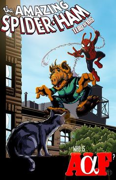 Alf and Spider-ham cross hairs....let's just assume that's Speedball's cat!