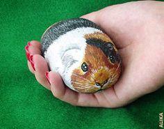 Hand painted rock. Guinea pig | by Alika-Rikki