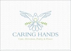 Logo for sale: A pair of gentle nurturing hands create the wings of a dove. The dove is created with simple clean lines to create a soft and peaceful appearance. The bird is resting on a single twig with the dove and hand combination representing care, devolution, purity and peace.