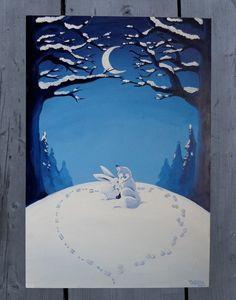 Fuchs & Hase- Original Acrylmalerei Tafel von PimpYourHome by Tascha auf DaWanda.com