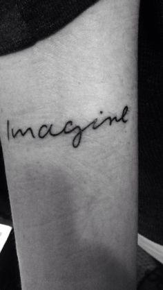 my imagine tattoo on my upper forearm. john lennons handwriting :)  #imagine #tattoo #johnlennon