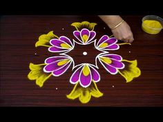 Easy Big Flower Kolam Design with dots