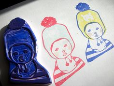 bear hat girl hand carved stamp by DearYouFromKozue, via Flickr