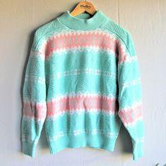 Vintage Sweaters - Vintage 80s Jennifer Adams pastel sweater