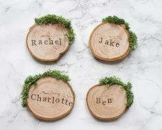 Wedding Place Cards / Rustic Place Settings / Wooden Wedding Favours / Wood Slice and Moss Decor / Woodland Wedding / Escort Cards / UK This is woodland wedding perfection, folks. Just think what that pop of green moss will do for your place settings. Wedding Place Names, Wedding Name Cards, Wedding Place Settings, Wedding Places, Wedding Stuff, Diy Wedding Favors, Wedding Centerpieces, Wedding Ideas, Wedding Inspiration