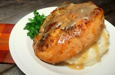 "Slow Cooker ""Roasted"" Herb Chicken with Gravy"