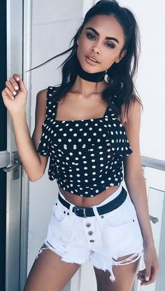 #summer #tigermist #outfits   Polka Dots + Denim