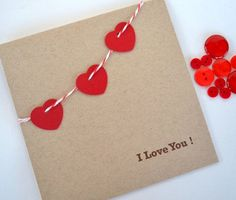 Love Card I Love You Valentine's Day by yarisiandco on Etsy Valentine Day Love, Valentine Crafts, Valentine Day Cards, Valentines, Valentine Banner, Paper Cards, Diy Cards, Gift Girlfriend, Tarjetas Diy