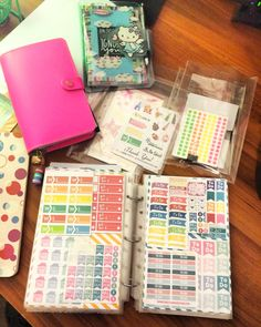 Planner stickers transitioning to a mini binder that's an A5 size. Find me on Instagram:  @planwithlynne and see more planner inspirations! #planwithlynne #filofax #hellokitty #fluoropink #plannerstickers