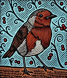 "Lisa Brawn: Woodcuts    small robin woodcut    European Robin  painted woodcut on hundred year old salvaged Douglas fir  8.5"" x 9.5"" x 1.5""  Lisa Brawn  2010"