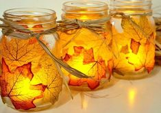 Easy Thanksgiving Crafts, Easy Fall Crafts, Thanksgiving 2020, Mason Jar Candle Holders, Mason Jar Candles, Leaf Crafts, Diy Crafts, Fall Crafts For Adults, Autumn Leaves Craft