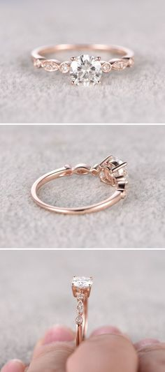 awesome Moissanite in Rose Gold Engagement Ring www.pinterest.com...                    ... #smallengagementrings