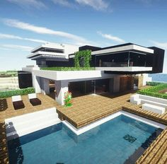 build modern design - Minecraft World Plans Minecraft, Villa Minecraft, Minecraft Cheats, Modern Minecraft Houses, Minecraft Mansion, Minecraft House Tutorials, Minecraft Room, Minecraft City, Amazing Minecraft