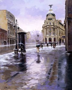 Ricardo Sanz – Nieve en Madrid Óleo sobre lienzo. 100×81 cms.