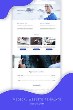 WebDo comes with all the designer tools you need in order to create responsive, pixel-perfect websites with no coding knowledge required. Use the medical website template to create your website today.