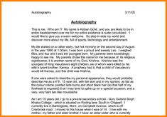 006 Student Biography Example Short bio examples, Personal