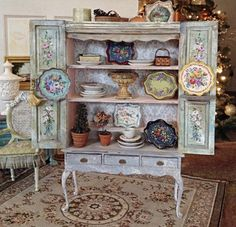 Each and every piece is a dream!!!Country Shutter Hutch by MaritzaMiniatures on Etsy