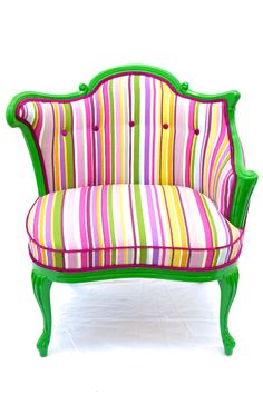 MARCUS: 1930's boudoir chair painted in a high gloss Kelly green and reupholstered in a striped cotton and finished off with hot pink piping and buttons. $US1,185. Love it.