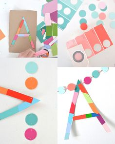 make a name garland from paint chips | art bar for small for big