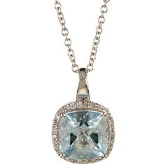 Effy 14K White Gold Diamond & Aquamarine Pendant Necklace ($590) ❤ liked on Polyvore featuring jewelry and necklaces