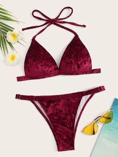 b36da7b5da9f8 Velvet Halter Top With Tanga Bikini Set  swswim03190314831  -  26.00    cuteshopp.com