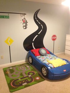 99 Astonishing Car Bed Designs Ideas That Every Kids Must See – Boy Room 2020 Boy Car Room, Boys Car Bedroom, Race Car Room, Car Themed Bedrooms, Car Bedroom Ideas For Boys, Race Car Bed, Racing Bedroom, Hot Wheels Bedroom, Toddler Rooms