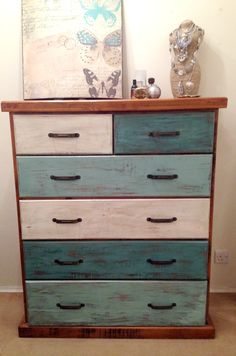 Chest of drawers hand painted for a vintage appearance with Annie Sloan Provence mixed with Old white for this lovely vibrant three colour combination & clear waxed for extra portection