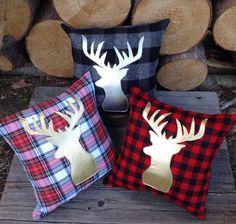 Deer Pillow Decorative Pillow Gifts Under 50 Nursery by JadieCakes. Deer Pillow Decorative Pillow Gifts Under 50 Nursery by JadieCakes Gold Pillows, Diy Pillows, Plaid Throw Pillows, Cushions, Couch Pillows, Christmas Crafts, Christmas Decorations, Holiday Decor, Xmas