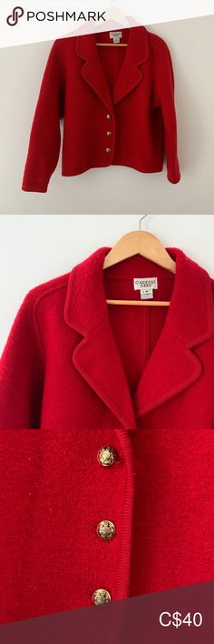 Vintage Wool Blazer in Red - super cozy! In fantastic condition with gold, oversized buttons. Medium but a bit on the oversized/boxy side. Plus Fashion, Fashion Tips, Fashion Trends, Vintage Wool, Colored Blazer, Blazers, Jackets For Women, Cozy, Buttons