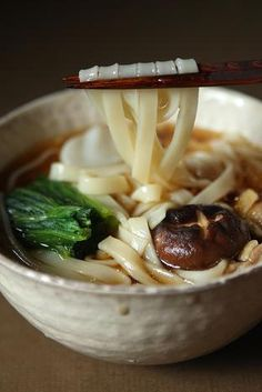 Japanese kishimen noodle: udon 60 seconds to cook & eats.if any broth already made Japanese Dishes, Japanese Food, Japanese Noodles, Asian Soup, Asian Cooking, Korean Food, Snack, Food Photo, Asian Recipes