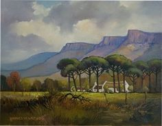 Hannes van der Walt - Farm Scene with Pine Trees | Landscape Art Fine Art