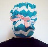 Chevron teal blue scrub hat bouffant   So perfect for a scrub tech or nurse in the OR