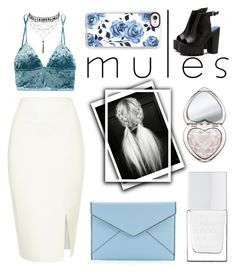"""""""Slip 'Em On: Mules"""" by paulahastings ❤ liked on Polyvore featuring Fleur du Mal, Ettika, Casetify, Too Faced Cosmetics, The Hand & Foot Spa and Rebecca Minkoff"""