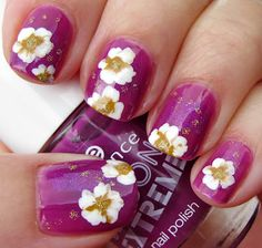 Fuchsia Nails with Glittery Flowers