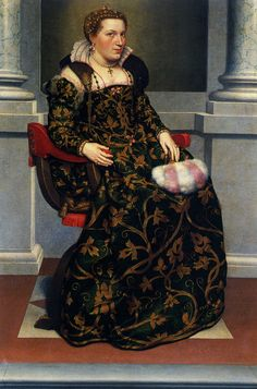 Moroni Portrait of Isotta Brembati 1550's. Great view of the long necklace pinned with a bow.