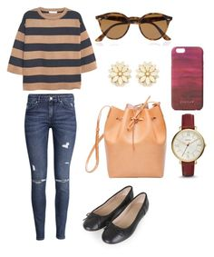 """""""daytime outfit"""" by indirag on Polyvore featuring MANGO, H&M, Topshop, Mansur Gavriel, FOSSIL, Ray-Ban, Forever 21 and Jigsaw"""