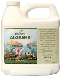 PondCare Algaefix Algae Control, 64-Ounce by PondCare. $22.49. Safe for fish, plants and wild life. for use in ponds, fountains and waterfalls. Effectively controls green water algae blooms, string algae and blanketweed. Effectively controls many types of green or green water algae, string or hair algae and blanketweed in ponds that contain live plants. Controls existing algae and helps resolve additional algae blooms. Keeps ornamental ponds and water gardens clean and clear.