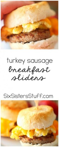 These Turkey Sausage Breakfast Sliders are easy to make and so delicious! | SixSistersStuff.com