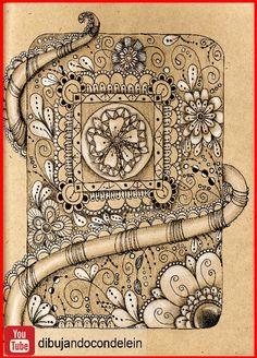 Zentangle art paso a paso diseño #15, este dibujo es el que acompaña al diseño