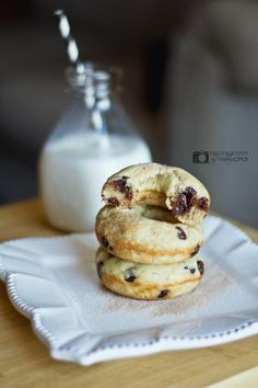 Healthier doughnut. Recipe allows you to choose between chocolate chips or fresh blueberries.