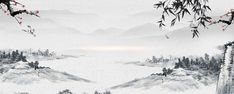 Painting Classical Chinese Wind And Landscape Banner Chinese Painting, Chinese Art, Chinese Background, Background Images, Asian Artwork, Winter Painting, Japanese Calligraphy, Traditional Landscape, Woodblock Print