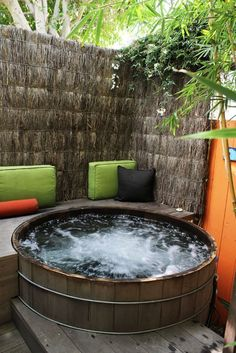 hot tub heaven -- make it private and sheltered from the wind. -- elevated so water drains into the garden.