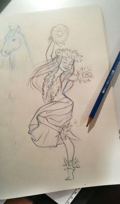 Hawaiian dancer, fast sketch