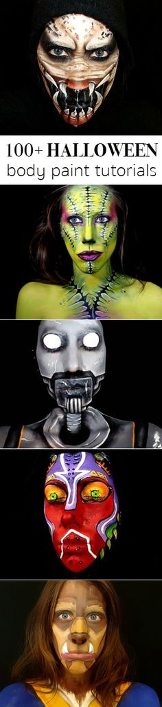 Check out these amazing body paint tutorial that completely transform your look to unbelievable! #halloween #halloweenmakeup